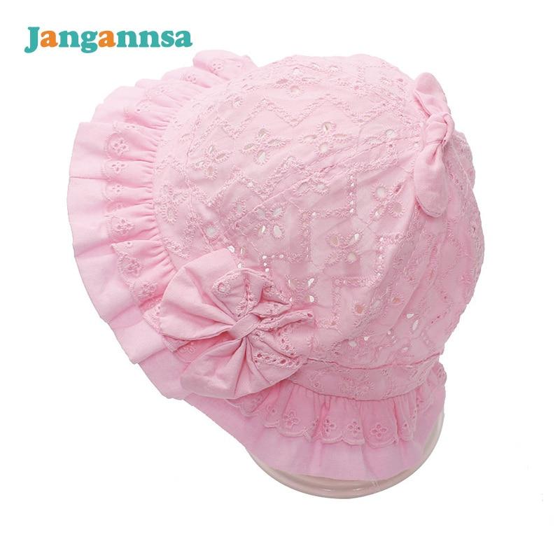 Holle katoenen baby meisjes cap stevige prinses visser hoed boog - Babykleding