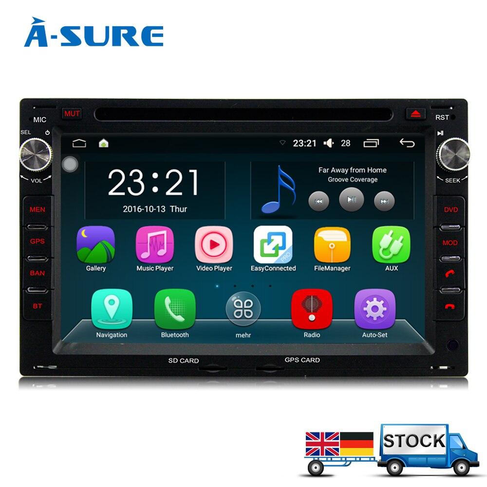 imágenes para A-sure In-Car 2 Din Android 5.1.1 GPS para VW Golf 4 Passat B5 POLO BORA Jetta Sharan T5 BT Navegación dvd sat nav WiFi