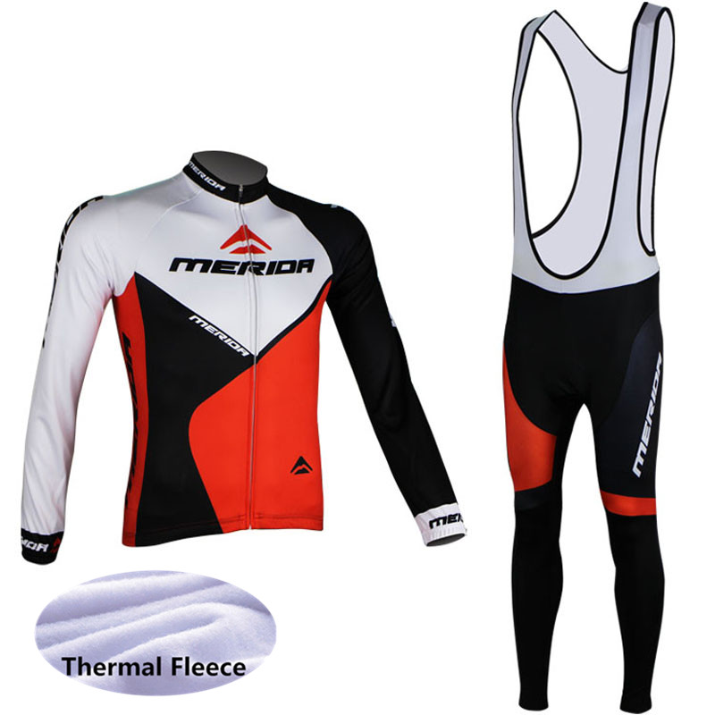 цена на 2018 MERIDA Men Cycling Jersey Winter Thermal Fleece Long Sleeves Racing Ropa Ciclismo MTB Bicycle (Bib) Long Pants Set G0701