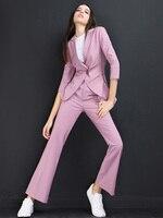 Высокое качество Для женщин костюмы Штаны костюм Для женщин блейзер комплект осень леди Бизнес офисная Форма Элегантный