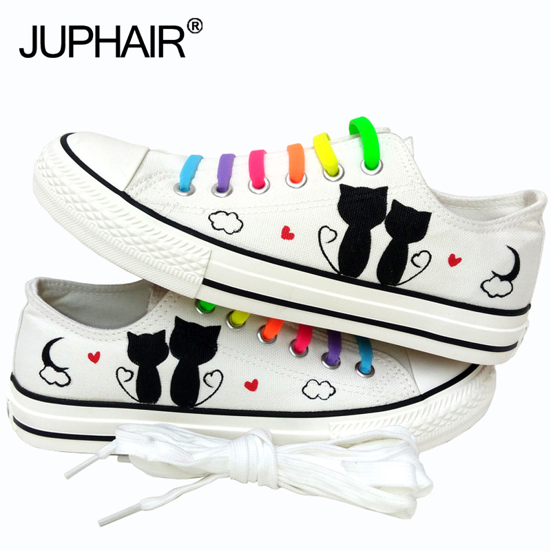 Nya män Mans Boys Mode Casual Canvas 3d Fox Cats Animal White Cartoon Handmålade skor Graffiti Lazy Shoelace Gift Footwear