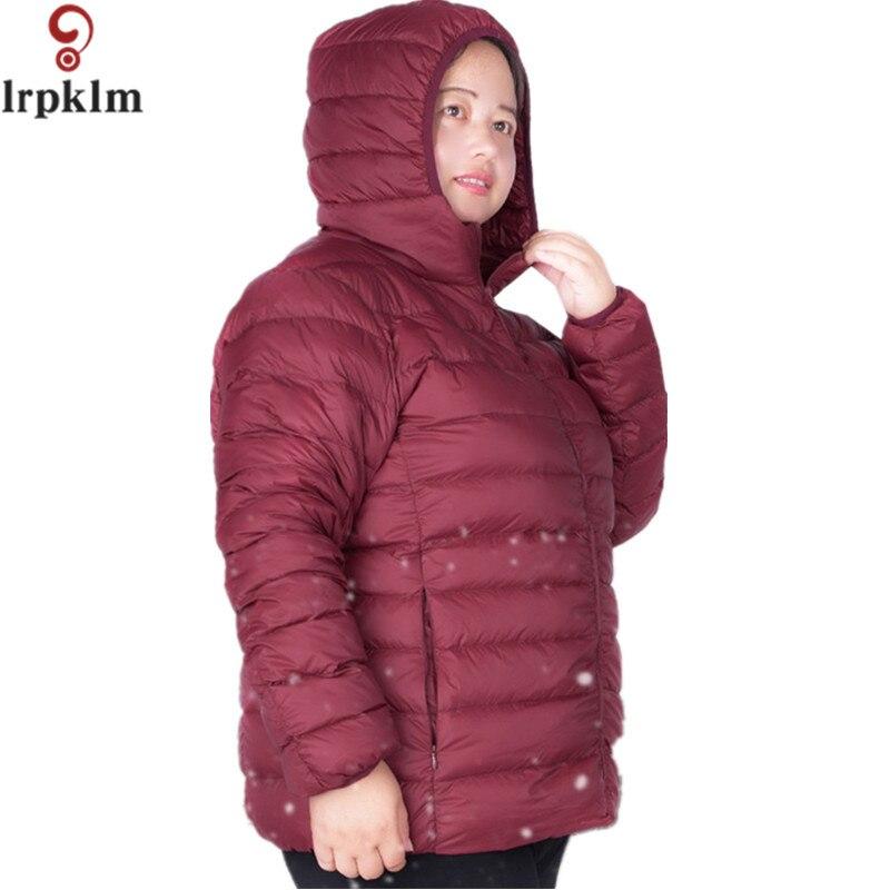 2017 Winter Women Light Jacket Coat Slim   Parkas   Ladies Coat Short Hooded Plus Size 6 XL Ultra Light Outerwear LZ176