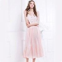Summer Women Sleepwear Short Sleeve Lace Nightgowns Princess Nightdress Vintage Nightwear Femininas Pijimas Homwear L1601015