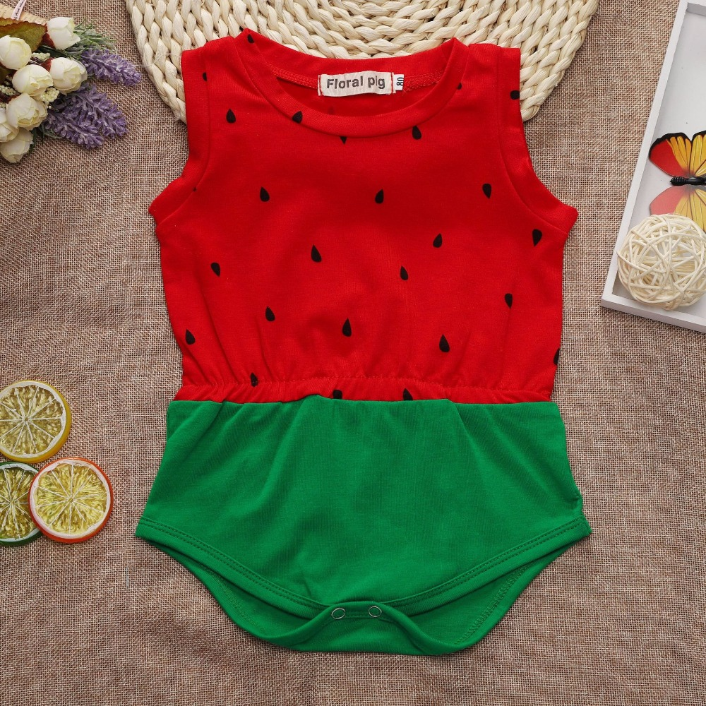 Red Green Watermelon Romper Baby Girl Clothes Summer Romper Baby Girl Onesie 1St -9997