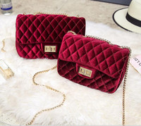 Diamond Lattice Crossbody Chain Bag Women Small Bags Corduroy Shoulder Bag New Personality Velvet Handbags Christmas