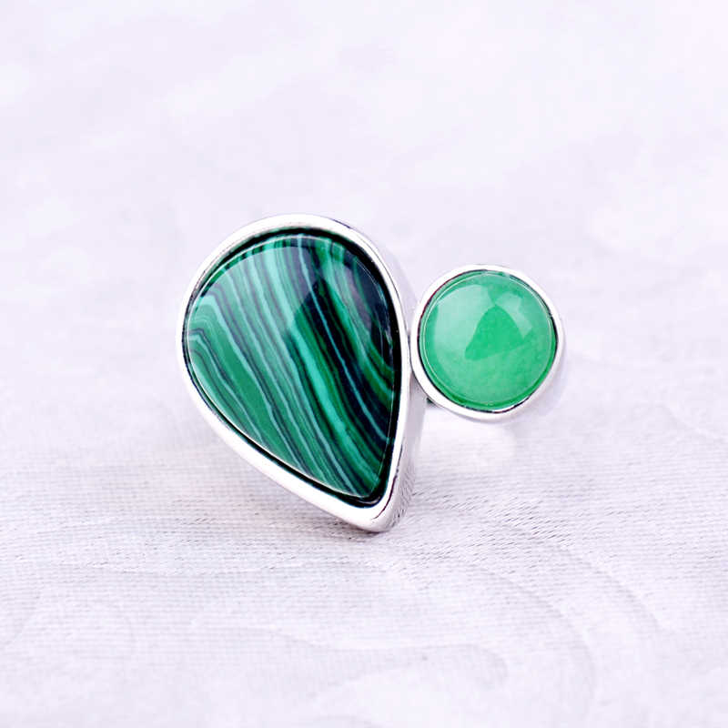ใหม่ Malachite แหวนหินสีเขียว Jasper หยดน้ำหยดน้ำรูปร่างอัญมณี Vintage แหวนเงิน 7/8/9 ขนาดผู้หญิงผู้ชายเครื่องประดับ