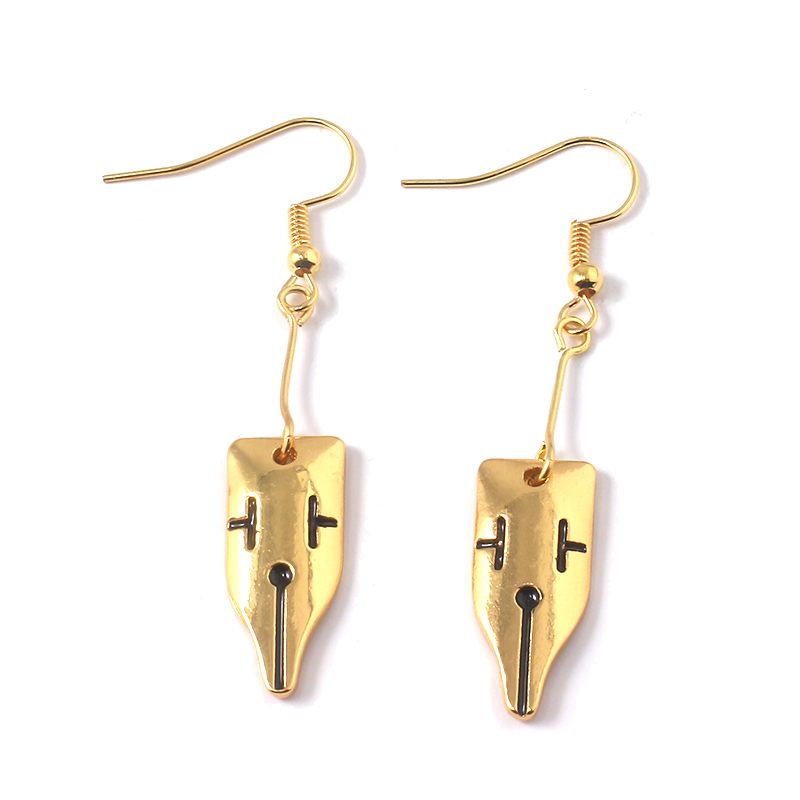 JoJos Bizarre Adventure Earrings Rohan Kishibe Gold Drop for Lady Jewelry