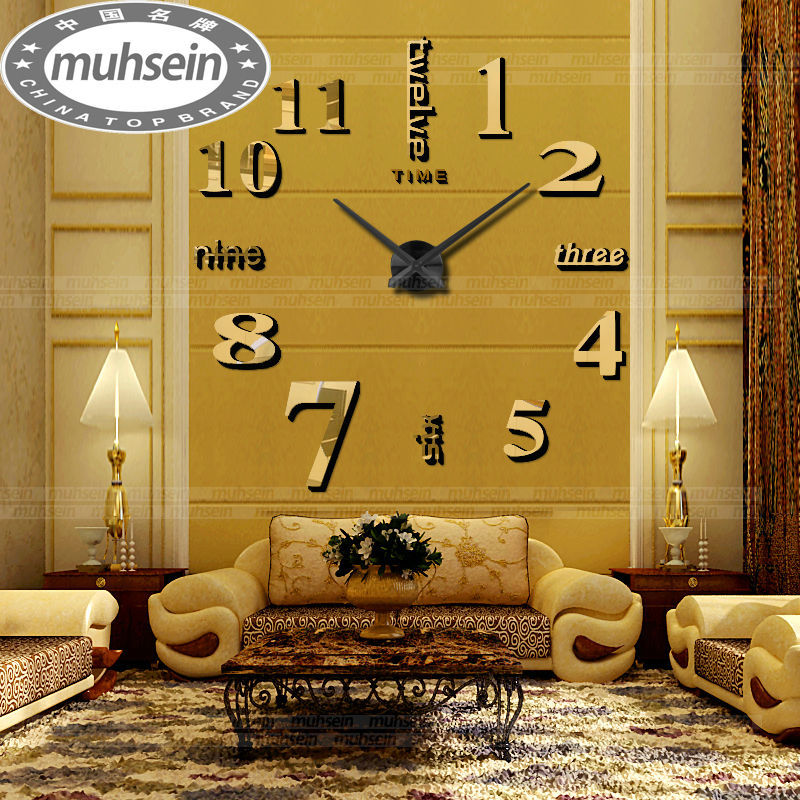 2017 Muhsein New Arrival Diy Modern Clocks Needle Acrylic Watches Big Wall Clock Mirror Sticker Living Room Decor Free Shipping In From Home
