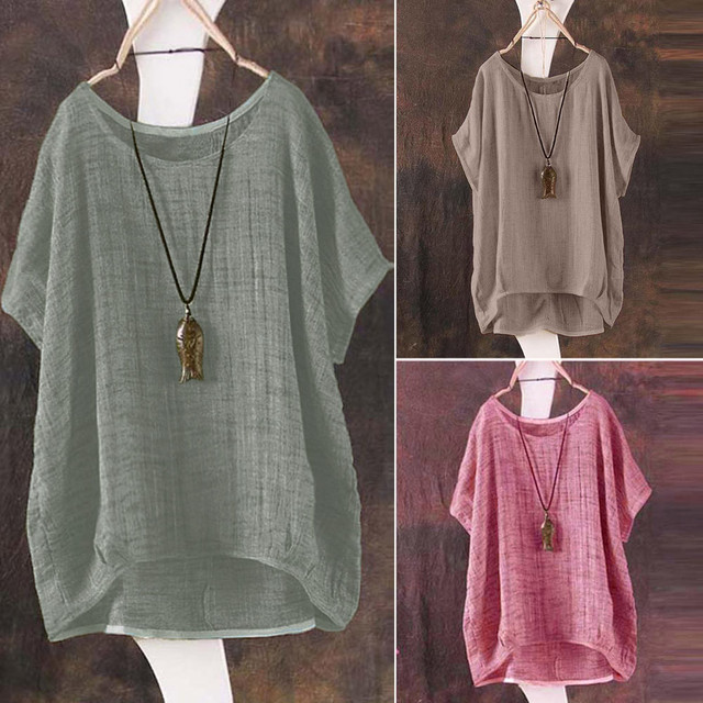 Plus Size S-5L linen bat short-sleeved women's casual loose top thin section shirt Tee shirt pullover Ropa de mujer 2