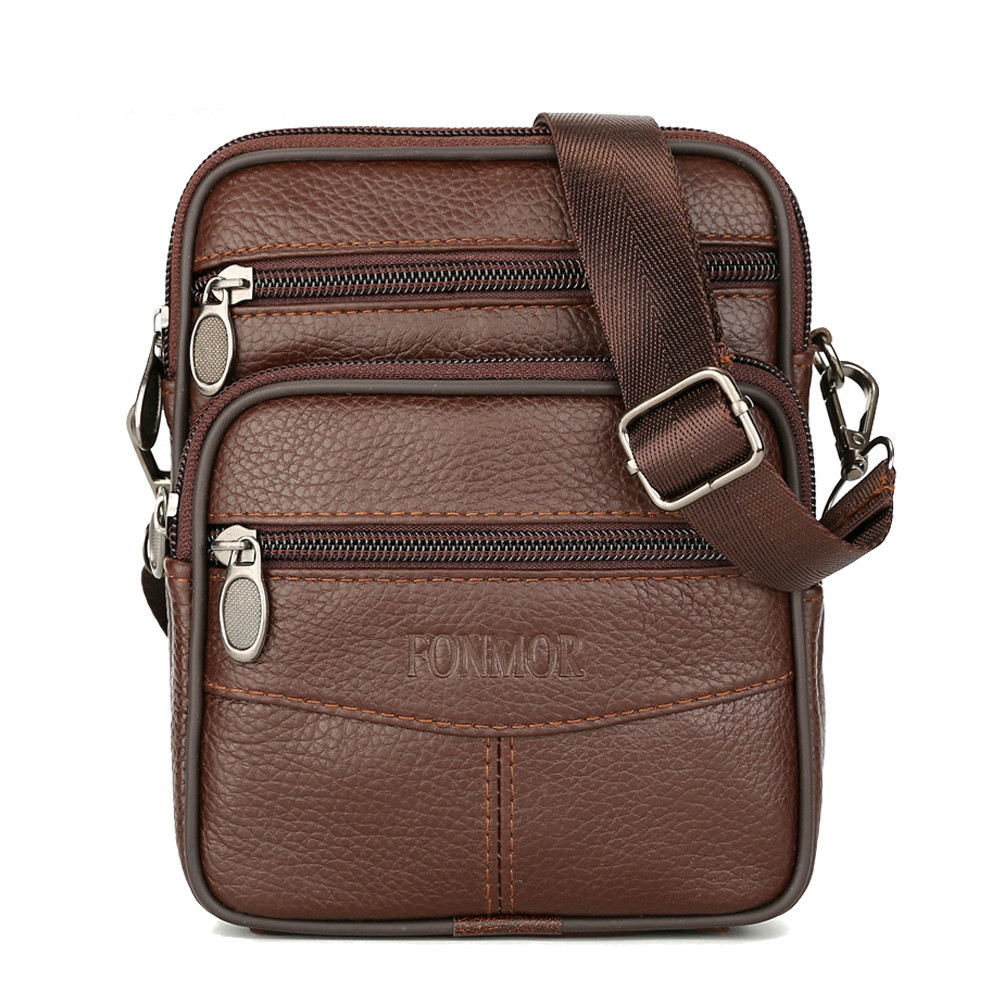 Vintage Famous Brand 100 Guarantee Real Cowskin men shoulder crossbody bags Fashion zipper design waist bag