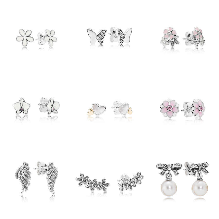 9 Style  Silver Charms Earrings Flower Wings Butterfly Pearl Heart with Crystal Earrings for Women Wedding Party Jewelry