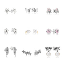 9 Style  Silver Charms Earrings Flower Wings Butterfly Pearl Heart with Crystal for Women Wedding Party Jewelry