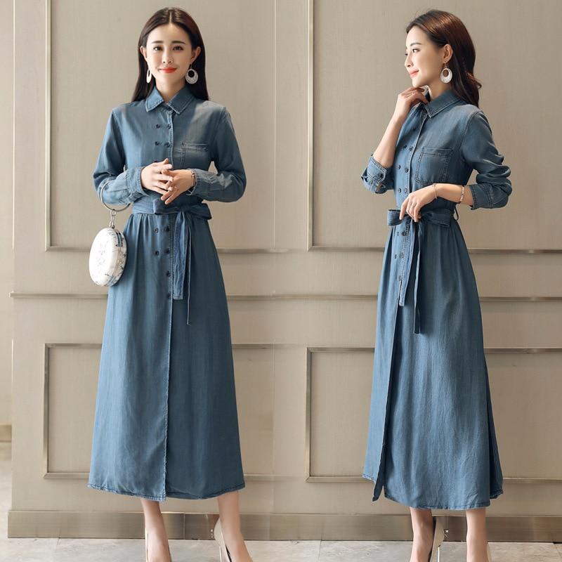 2018 printemps vêtements nouveau modèle Denim robe Station à la fois boucle longue fonds Cowboy robes à manches longues auto-culture - 4