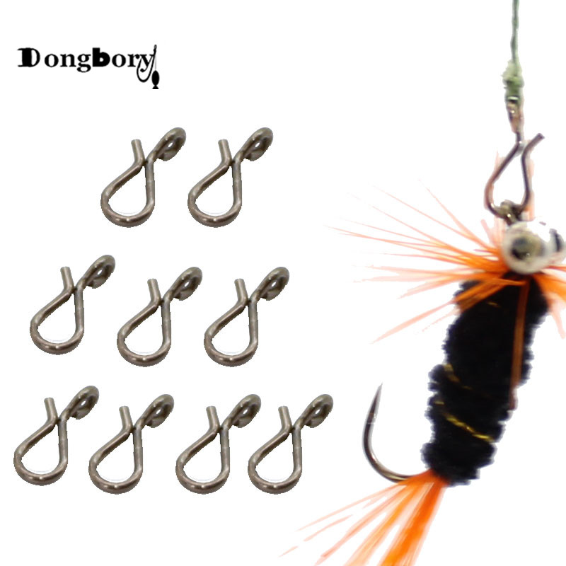 Dongbory 20PCS Black Quick Change For Flies Hooks And Lures Accessories Fly Fishing Snap Hooks Size L M S