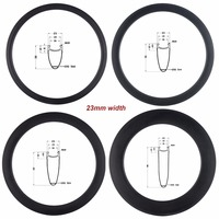 700C Full Carbon Rims 38mm 50mm 60mm 88mm Wheels Rims Road Bicycle Clincher 23mm Width UD Surface Bicycle Rim Sets