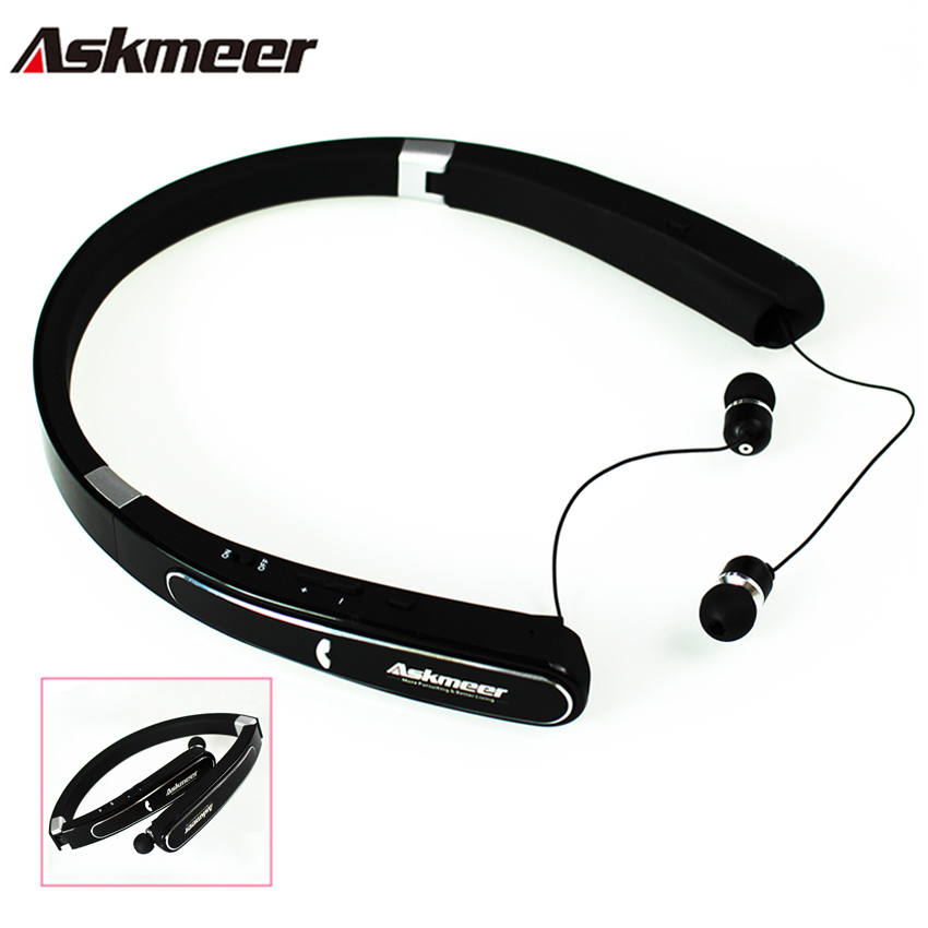 Askmeer Bluetooth Stereo Earphone Foldable Neckband Wireless Sport Earbuds Headset Bass Headphones with Microphone for Phone