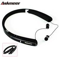 Askmeer fone de Ouvido Estéreo Bluetooth Neckband Dobrável Esporte Sem Fio Fones de Ouvido Fone de Ouvido Baixo Fones De Ouvido com Microfone para Telefone