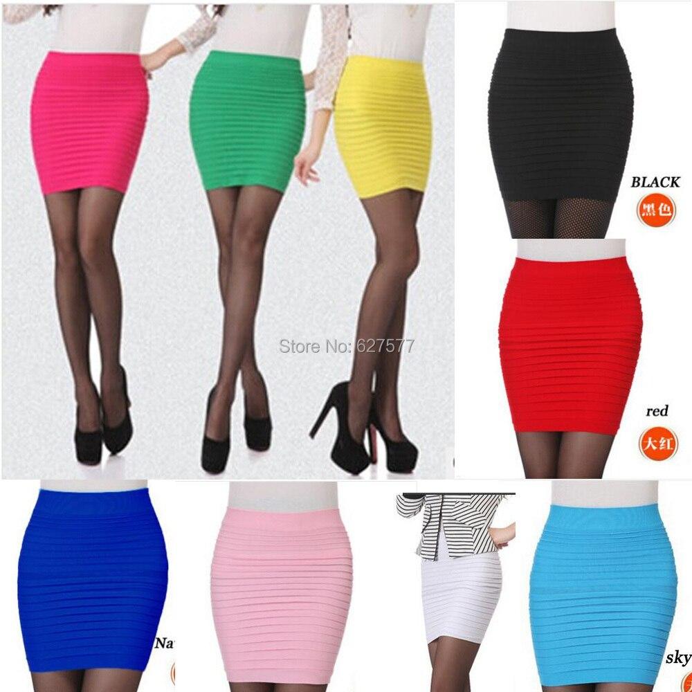9f000e0be € 5.4  Nueva llegada de moda una línea delgada imperio Mini Short elástico  faldas apretadas 16 colores / envío gratis en Faldas de La ropa de las ...