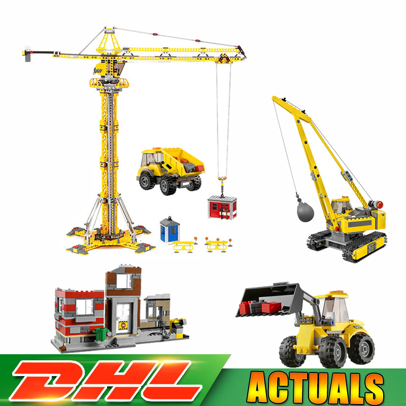 цена на LEPIN 02042 City Demolition Site Set +02069 Building Crane Model Building Blocks Bricks Toys Compatible LegoINGlys 60076 7905