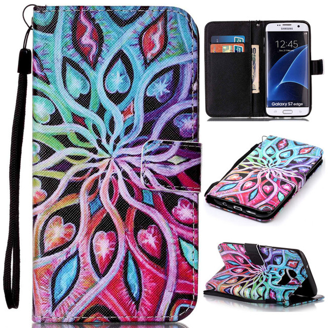 PU Leather Wallet Flip Cell Phone Case For Pouch Samsung Galaxy S7 Edge