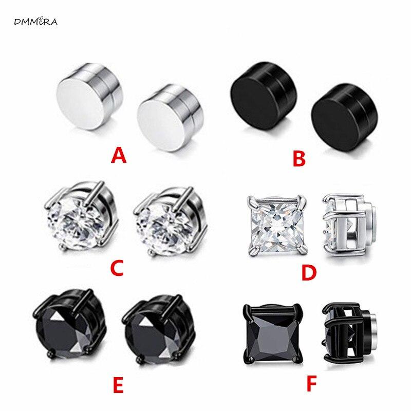 Hot Fashion Women Men Punk Silver Black Magnet Stainless Steel White Black Zircon Earless Round Magnet Stud Earrings Jewelry