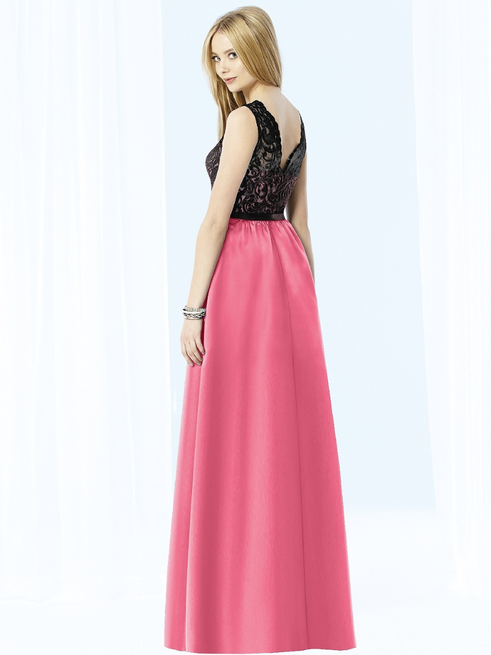2015 nueva dama de honor baratos vestidos negro y rosa de gasa de ...
