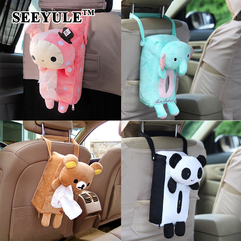 1pc SEEYULE Car Tissue Box Fashion Cartoon Style Seat Back Organizer Storage Bag Removable Tissue Holder for Car Home Use