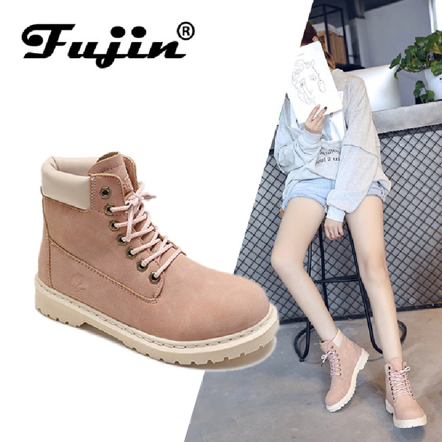 301f6b3e5a7 FUJIN Brand Women Ankle Boots 2019 Fashion Shoes Big Size Lace Up Round Toe  Female Sheos Comfortable for Women Shoes Plus Size