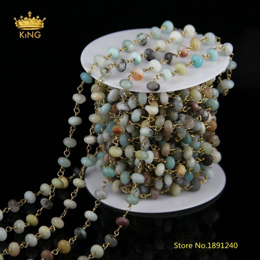 Nouvelles chaînes de Style chapelet, 5 mètres 5x8mm Rondelle Amazonite perles fil enroulé en laiton plaqué chaînes Amazonite résultats collier ZJ147