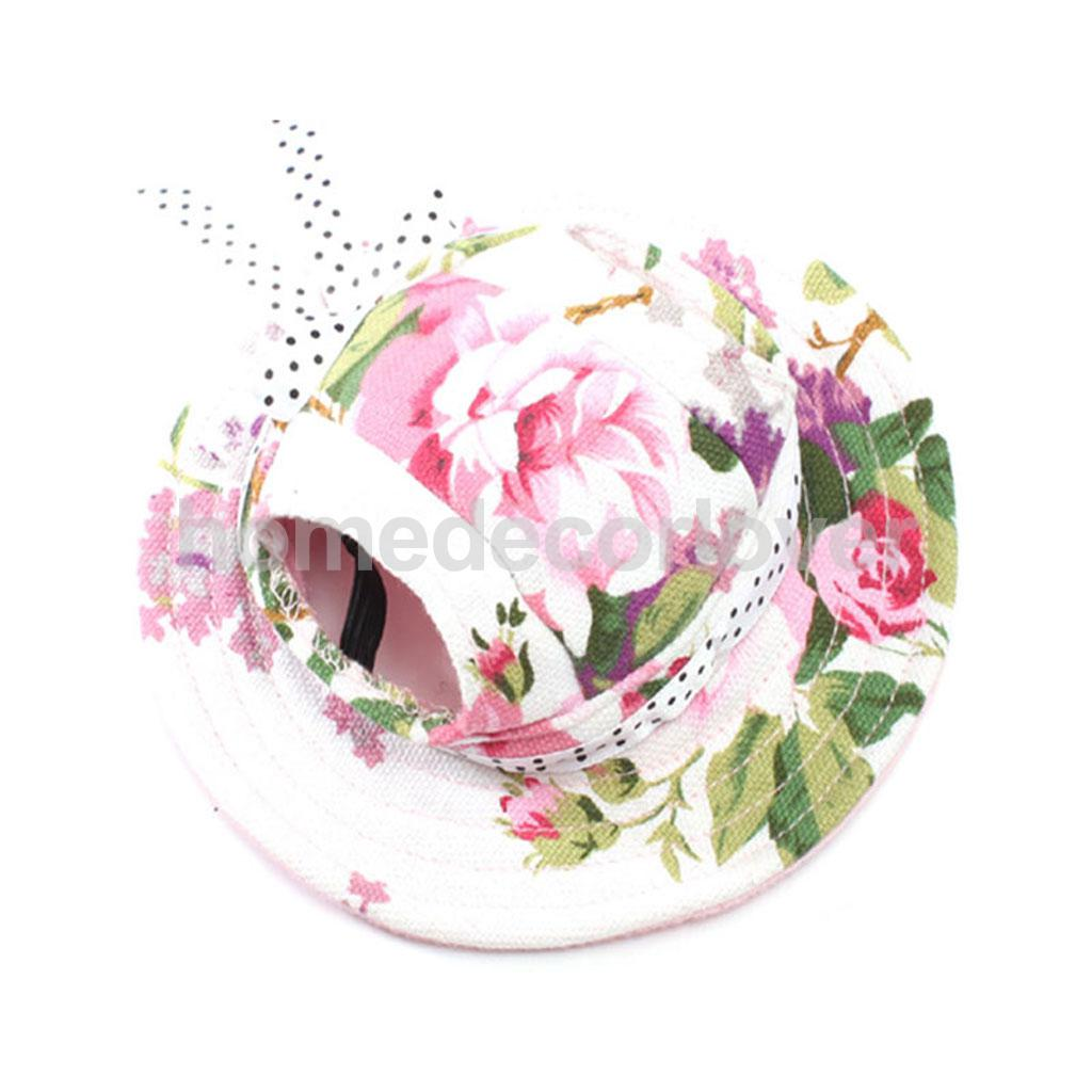 Pet Dog Cat Kitten Flower Princess Mesh Strap Hat Cap Sunbonnet Size ...