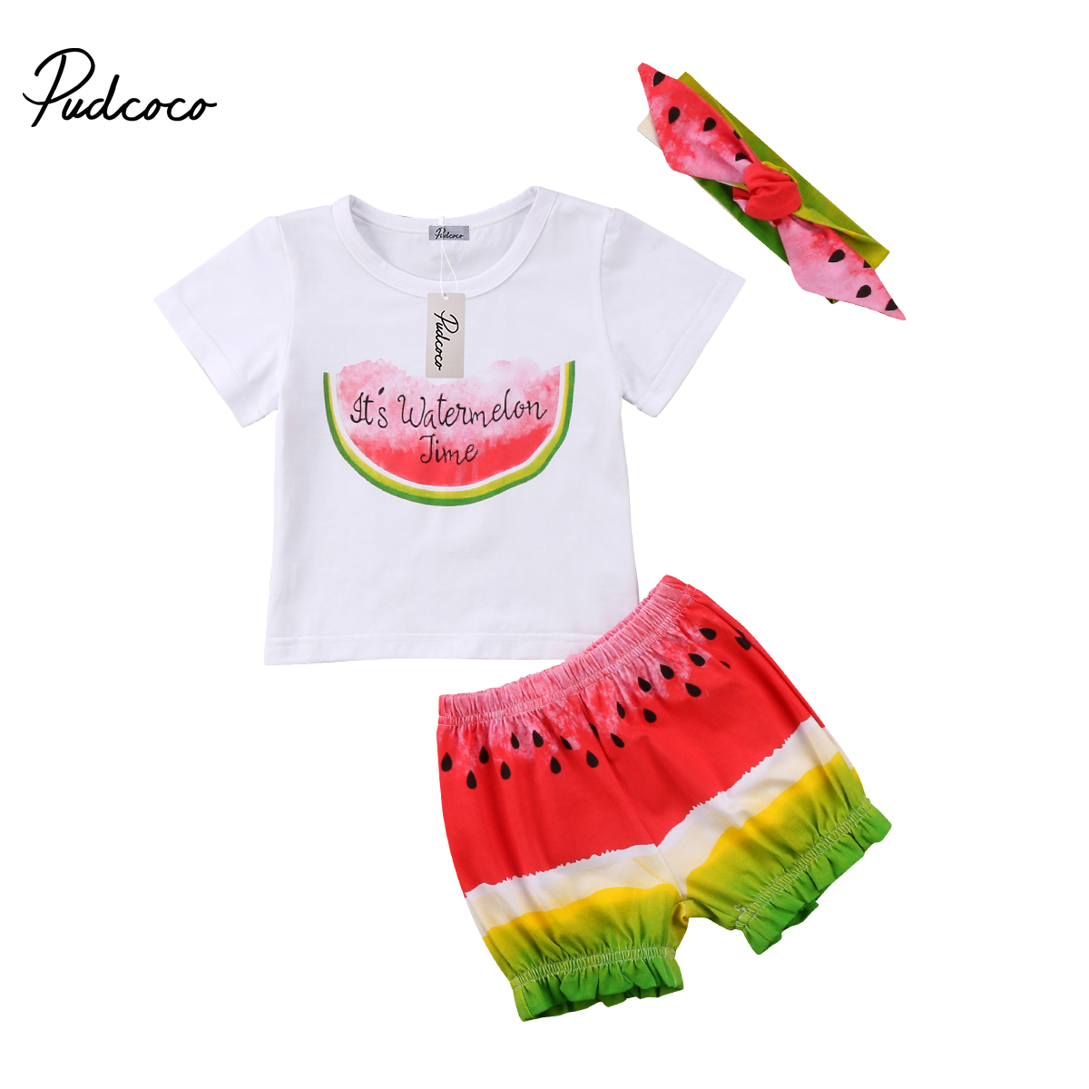 3Pcs Summer Newborn Toddler Kids Baby Girl Watermelon Outfit Headbandt Shirtsshorts -8384
