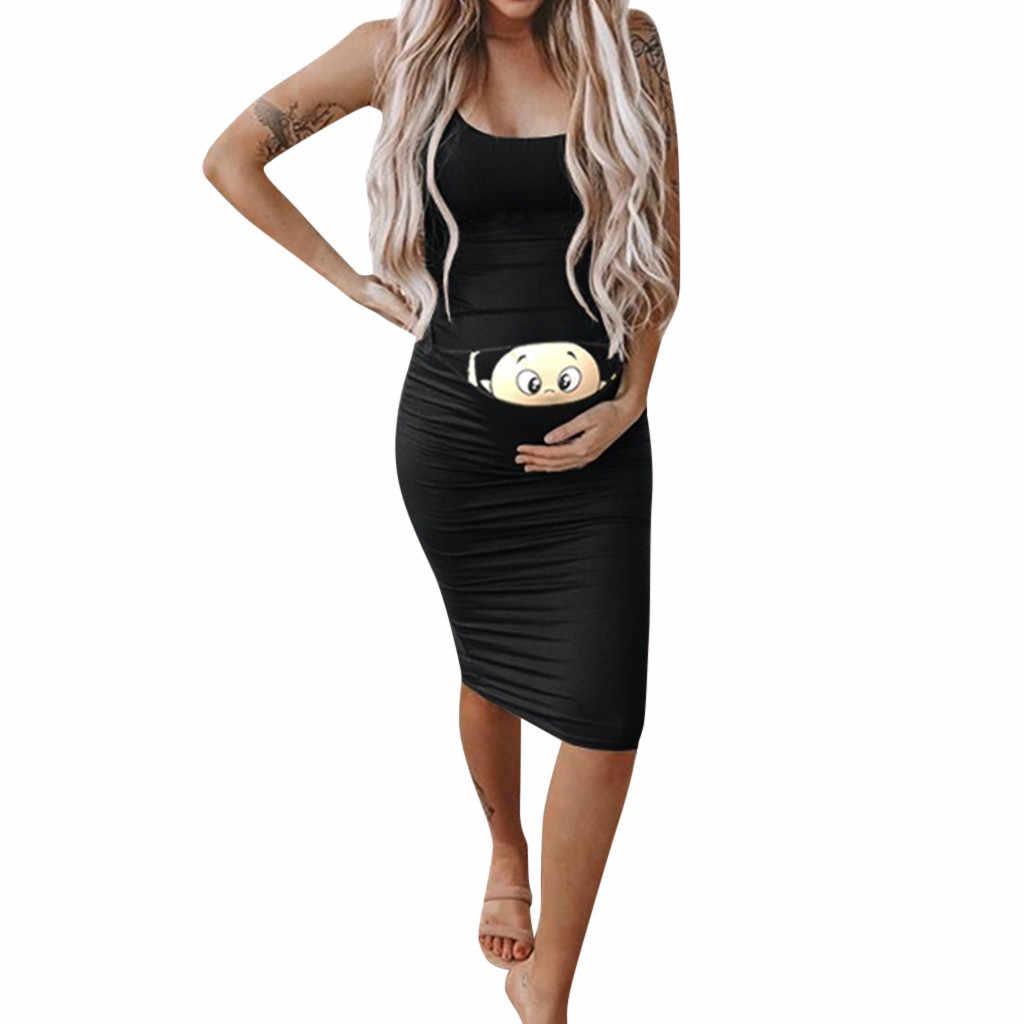 Telotuny vestido de maternidade feminino moda feminina bonito bebê impresso grávida verão sem mangas vestido de maternidade #40