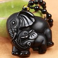 Natural Black Obsidian Carved mother baby Elephant Necklace Jewelry Charm Pendant Lucky Jewelry Gift Can Drop Shipping