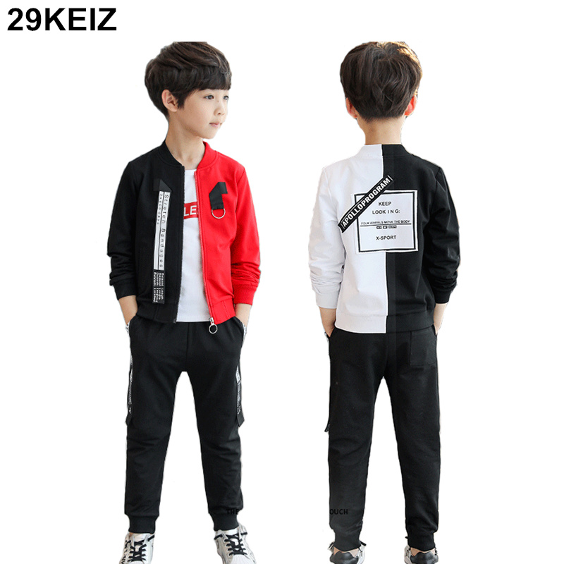 3PCS/Set Boys Sets 2018 Spring Cotton Patchwork Tracksuit Letters Printed Child Boy Sweatshirt T-shirts & Pants Childrens Sets