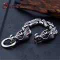 Steel soldier new arrival stainless steel punk chinese style dragon with red stone bracelet fashion 3D design men jewelry