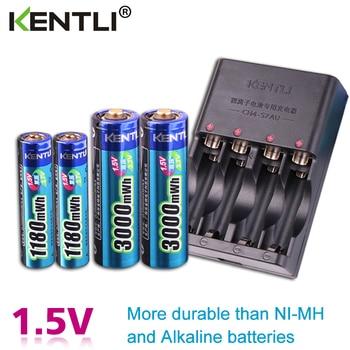 KENTLI 4pcs 1.5v aa aaa batteries Rechargeable Li-ion Li-polymer Lithium battery + 2 slots AA AAA lithium li-ion Smart Charger