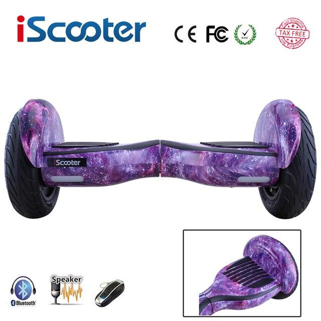 Новый iscooter hoverboard 10 дюймов 2 колеса geroskuter смарт самостоятельная балансировка мопедов с bluetooth динамики led электрический скейтборд