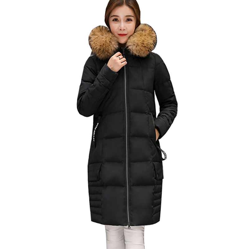 2017 New Female Warm Winter Jacket Women Slim Coat Thick Down Cotton Parka Ultra-light Cotton-padded Jacket Long Outwear 5L48 chic scoop neck rabbit print loose fitting t shirt for women