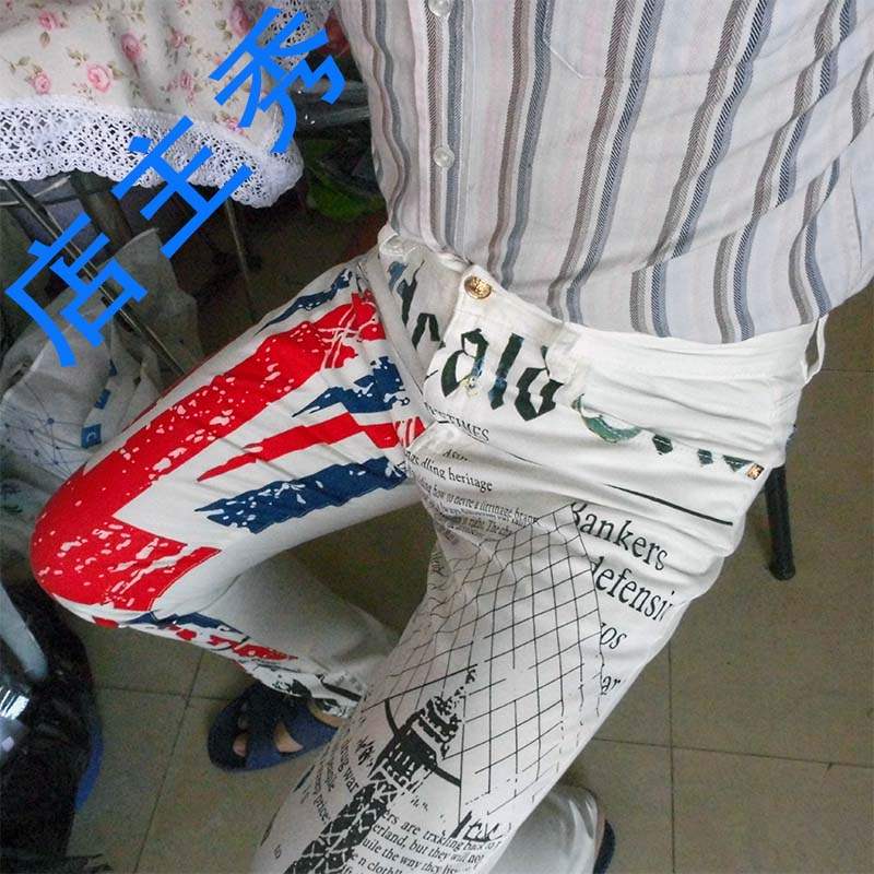 Mens British Flag Jeans Pants Colored Drawing Tower Printed Fashion SKinny White Jeans Casual Stretch Jeans