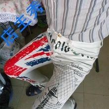 Мужская Британский Флаг Джинсы Брюки Цветной Рисунок Башня Отпечатано Мода Узкие Белые Джинсы Случайные Джинсы Стрейч Брюки MB573 Z10