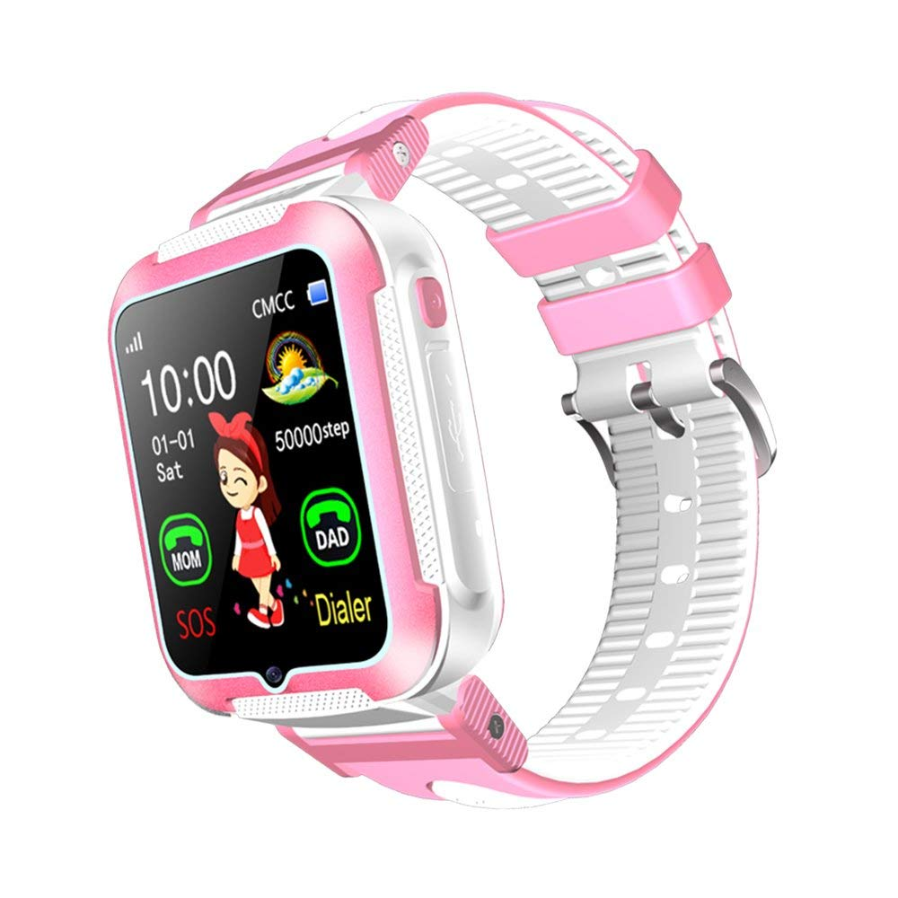 Kids Phone Smart Watch Boy Girl Child Real-time GPS Tracker Parent Monitor Sleep Monitor Pedometer Support IOS Android Pink Blue