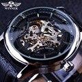 Ganador Casual Elegante Diseño Esquelético Del Reloj Para Hombre de Primeras Marcas de Lujo Transparente Case Negro Dial De Plata Reloj Mecánico Reloj Masculino