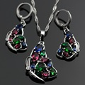 Lan Fashion925 Silver Jewelry Sets AAA Zircon Multicolor Stone  Butterfly Shaped   Necklace Pendant Earring For Wedding