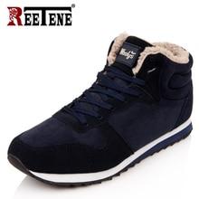 REETENE/Самые дешевые зимние ботинки для мужчин, модная зимняя обувь из флока на меху, мужские кожаные зимние ботильоны, мужские теплые повседневные ботинки, размеры 37-48