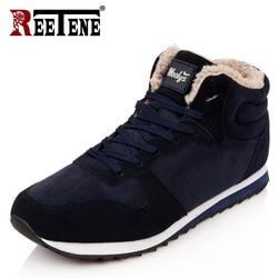 REETENE Cheapest Winter Boots Men Fashion Fur Flock Winter Shoes Men Leather Winter Ankle Boots Men Warm Casual Men Boots 37-48