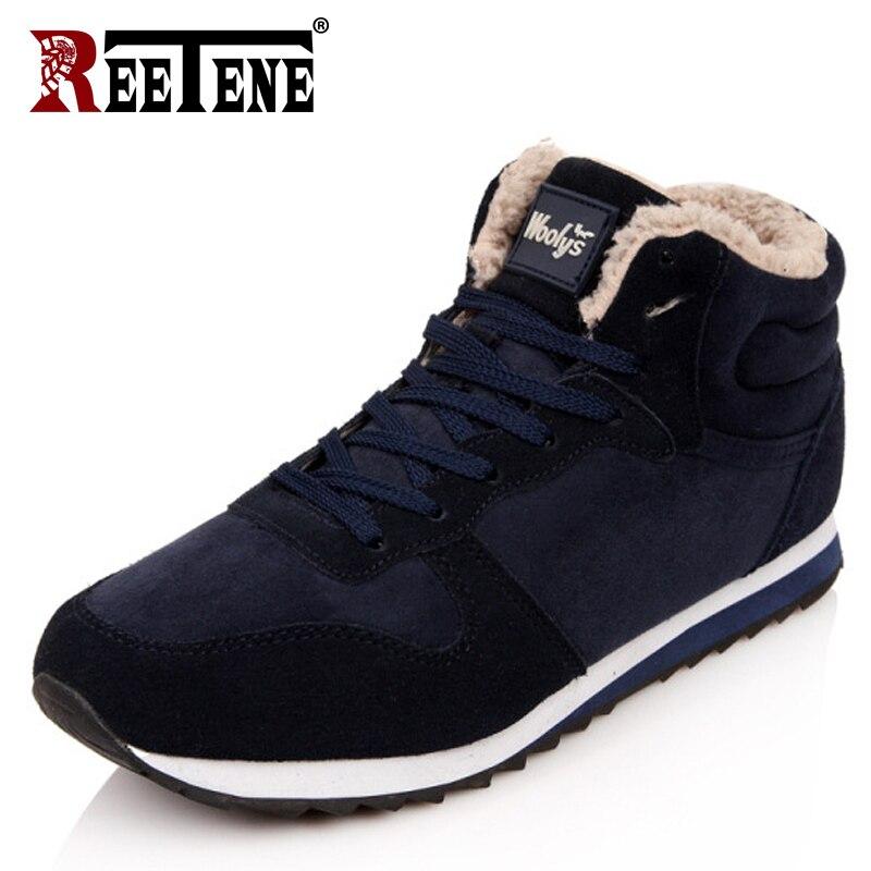 REETENE Cheapest invierno botas hombres moda Fur Flock zapatos de invierno hombres botas de cuero del tobillo del invierno Hombres Calientes botas de los hombres ocasionales 37-48
