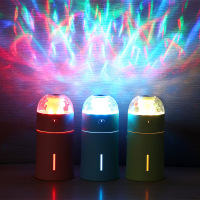 Creative Colorful LED Projection Light Air Humidifier Mini Portable USB Car Charger Ultrasonic Essential Oil Aroma