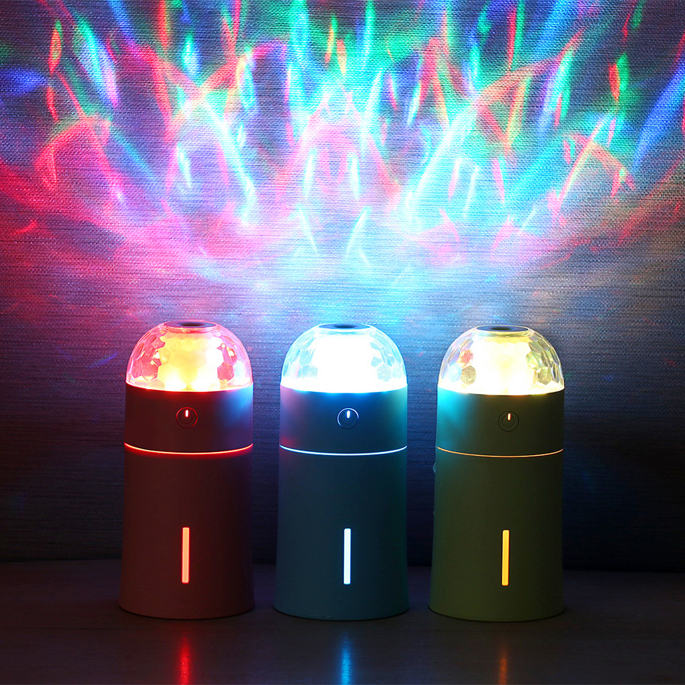 Creative Colorful LED Projection Light Air Humidifier Mini Portable USB Car Charger Ultrasonic Essential Oil Aroma Diffuser mini usb led lamp portable bendable keyboard usb light for ultrabook notebook laptop power bank adapter wall car charger