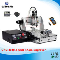 4 axis cnc router 4030 Z-USB 800W /1500W Engraving Machine with USB port water cool spindle motor, Support Win 7,8,10 System