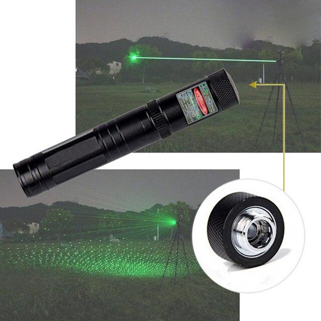 גבוהה כוח ירוק מצביע לייזר 532nm 5 mW 303 לייזר עט מתכוונן הכוכבים ראש שריפת התאמה לייזר ללא סוללה